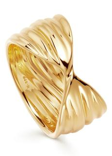 Texture Wave ring verguld