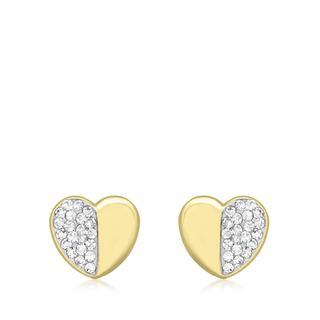 9 Karaat ketting met hanger hart en kristal