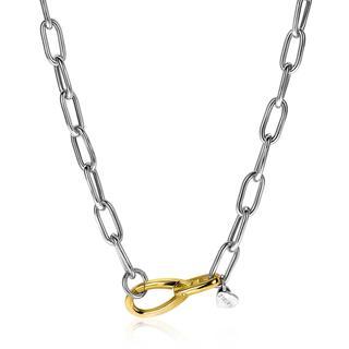 zilveren luxe collier met brede paperclip schakel bicolor 43cm ZIC2106