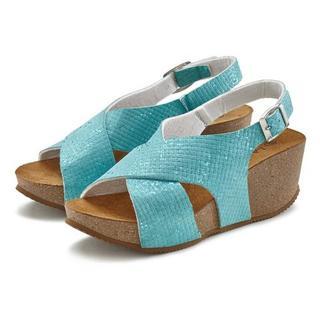 sandaaltjes met sleehak en kurkvoetbed