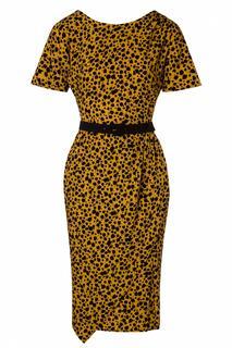 50s Filomena Mini Floral Wiggle Dress in Mustard