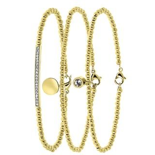 Stalen set goldplated armbanden kristal