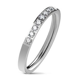 Zircon - Zilveren dames ring met 8 steentjes van zirkonia
