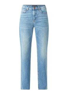High waist straight fit jeans met medium wassing