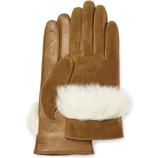 Handschoen van suède leer en sheepskin voor Dames in Chestnut
