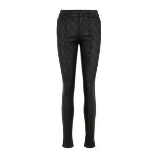 coated skinny broek met slangenprint zwart