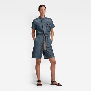 Short Sleeve Workwear Playsuit - Straight Fit - Taillehoogte Hoog