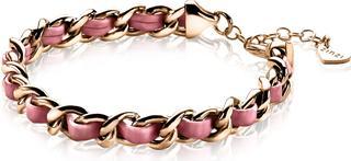 zilveren gourmet armband rosé verguld roze koord 18-21cm ZIA1095R