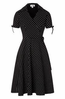 50s Bianca Polkadot Wrap Swing Dress in Black