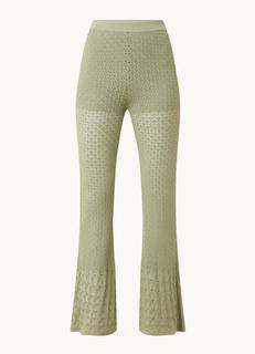 High waist flared fit broek met opengewerkt dessin
