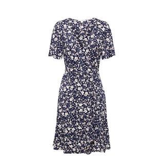 Women Casual gebloemde A-lijn jurk donkerblauw/wit