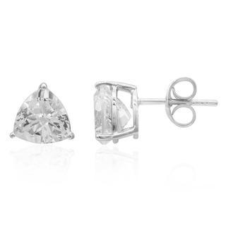 Zilveren oorbellen met witte topaasstenen