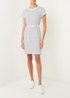 Mini T-shirt jurk met logoborduring en streepprint