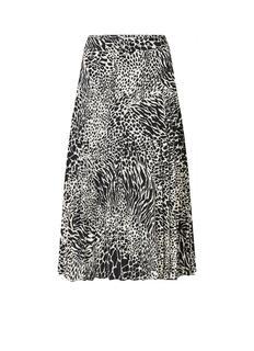 Midirok met plissé en luipaard print