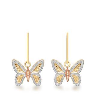 9 Karaat tricolor oorhangers met vlinder