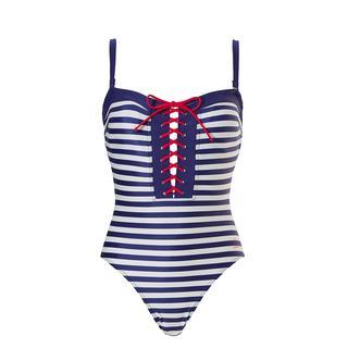 badpak strapless breton stripe navy