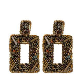 Statement Beads Earrings - Brown