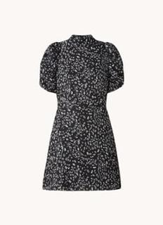 Raayy A-lijn mini jurk met dierenprint en pofmouw