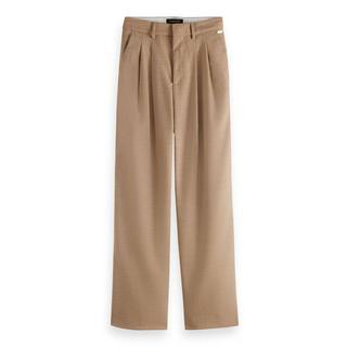 gemêleerde wide leg pantalon met wol zand