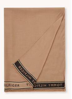 Border sjaal met logoprint 200 x 30 cm