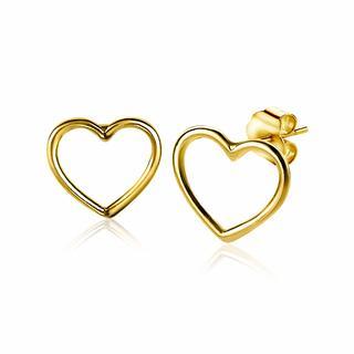 zilveren oorknoppen 14K geelverguld open hart 8mm ZIO1630G