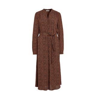 Anna maxi jurk met all over print en ceintuur zwart/oranje