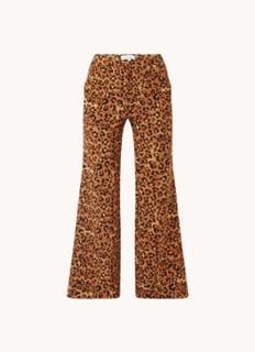 Puck high waist wide fit pantalon met panterprint