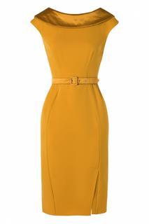 50s Rachel Pencil Dress in Mustard