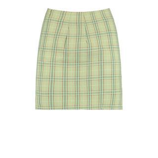 geruite mini rok soft green
