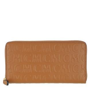 Portemonnees - Monogramme Leather Zip Wallet Large in cognac voor dames