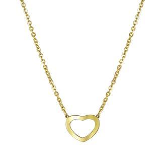 Goldplated ketting&hanger hart met zirkonia