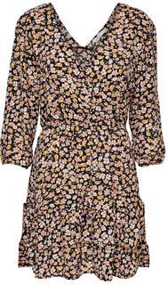 Fuchsia 3/4 wrap dress wvn black/ranch floral