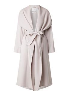 Mantel van wol met strikceintuur