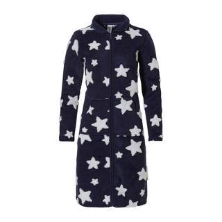 fleece badjas met ritssluiting en sterren donkerblauw/wit