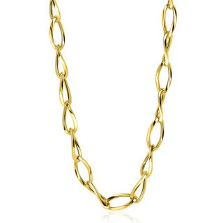 Gold 14 karaat gouden fantasie collier 45cm met gedraaide schakels 5mm breed ZGC272