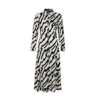 maxi jurk Bobbie met all over print wit/zwart
