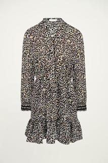Grijze korte jurk luipaard print