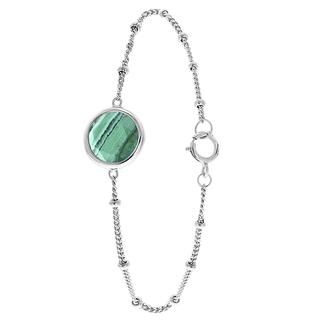 Zilveren armband Gemstone malachite