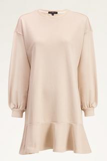 Beige sweater jurk met ruffle
