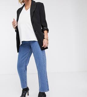 ASOS DESIGN Maternity - Florence - Authentieke gerecyclede jeans met rechte pijpen en buikbanden aan de zijkant in mooie mid stonewash blauw