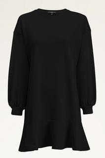 Zwarte sweater jurk met ruffle