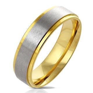 Centro - Gouden dames en heren ring met zilver middenstuk
