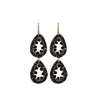 Double Drops Earrings - Black