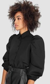 Popeline blouse met pofmouwen , Zwart polyester,katoen,