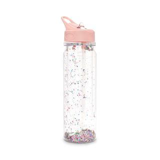 Waterfles. Confetti. Roze.