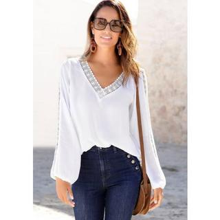 gekreukte blouse met kanten inzetten