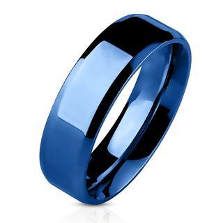 Bevelo - Blauwe dames en heren ring met afgeronde hoeken