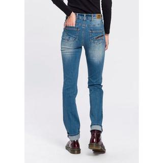 Rechte jeans Met ritszak Mid waist