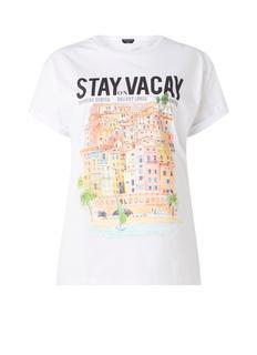 Stay on vacay T-shirt van katoen met frontprint