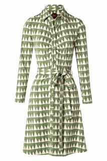 60s Winter Peaks Button Down Dress in Green